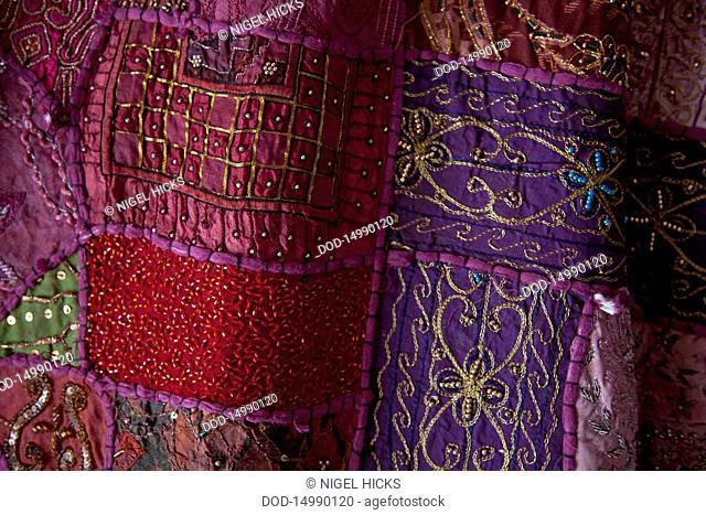 Turkey, Marmaris, Textiles for sale at shop in bazaar, close-up
