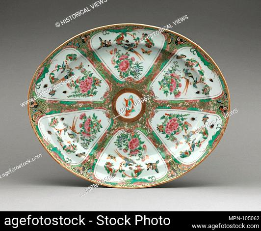 Platter. Date: ca. 1860-66; Geography: Made in China; Culture: Chinese, for American market; Medium: Porcelain; Dimensions: 12 7/8 x 15 7/8 in. (32