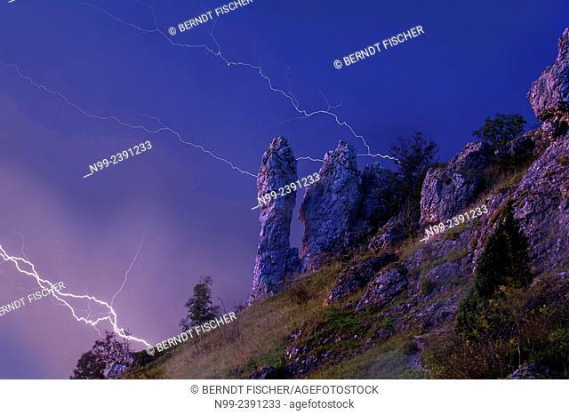 Thunderstorm, Jurassic rocks, Franconia, Bavaria, Germany
