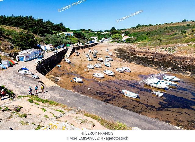 France, Vendee, Ile d'Yeu, Port de la Meule, low tide in the harbour