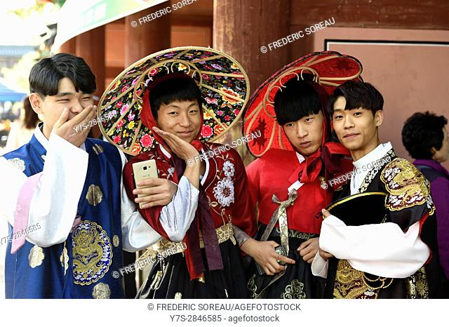 Group of young men wearing traditional costume in Jeonju, South Korea