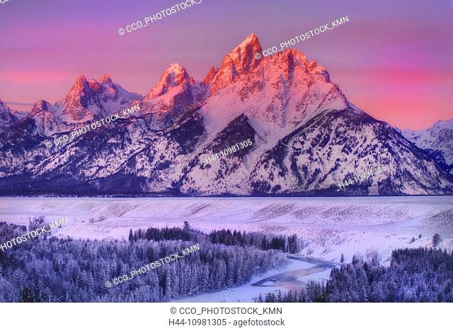 Rocky Mountains in winter in Wyoming