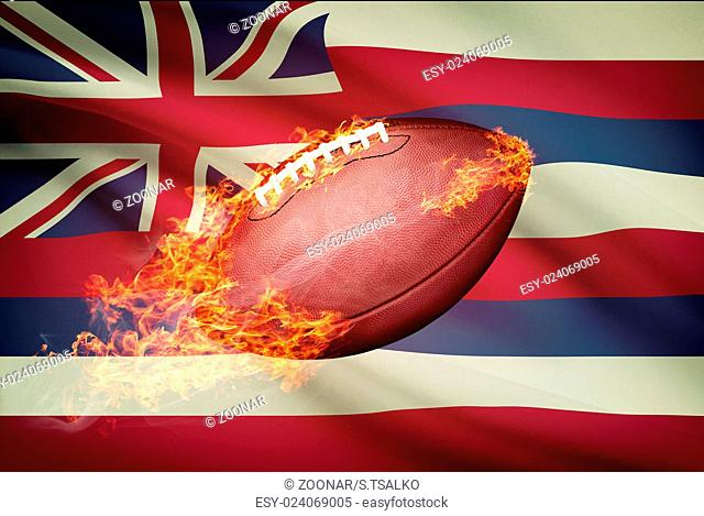 American football ball with flag on backround series - Hawaii