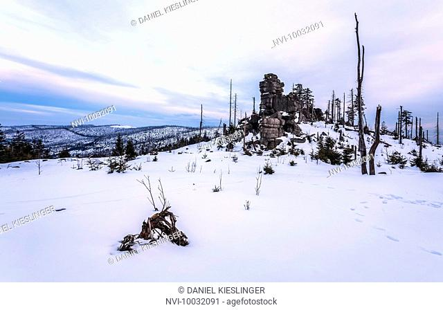 Winter landscape at Dreisessel, Haidmühle, Bavarian Forest, Niederbayern, Bavaria, Germany