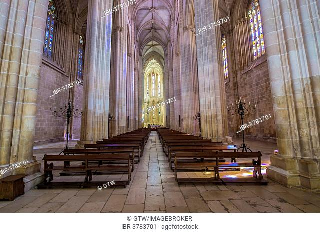 Central nave of the church, Dominican abbey Batalha Monastery, Unesco World Heritage Site, Batalha, Leiria district, Portugal