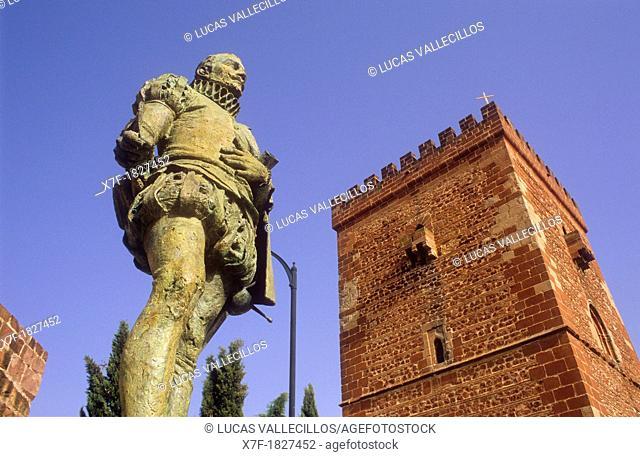 Miguel de Cervantes Saavedra Monument and Don Juan de Austria fortified tower or `Torreón del Prior',Alcázar de San Juan, Ciudad Real province