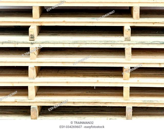 Wooden pallet is stacking in the warehouse of factory