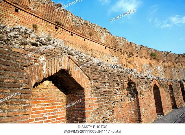 Ruins of an ancient Greek theatre, Taormina, Province of Messina, Sicily, Italy