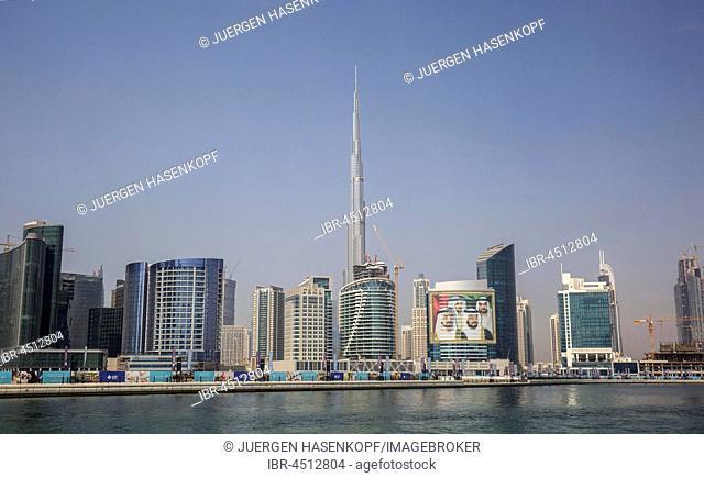 Business Bay and New Downtown, at back Burj Khalifa, Dubai, United Arab Emirates
