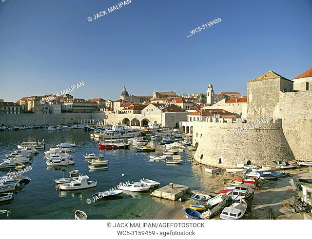 view of dubrovnik marina in croatia.
