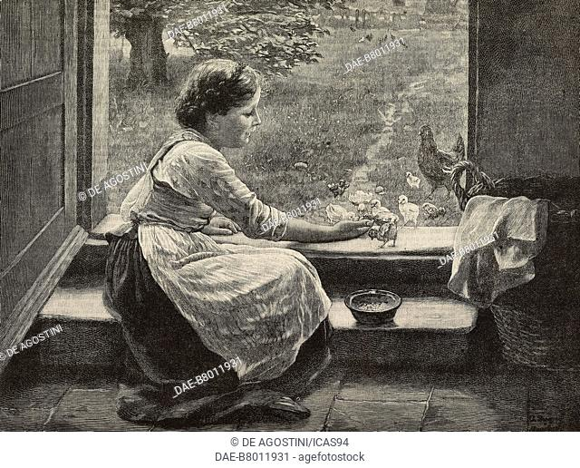 The foster mother, engraving after a painting by Von Bergen from The Illustrated London News, volume 97, No 2689, November 1, 1890