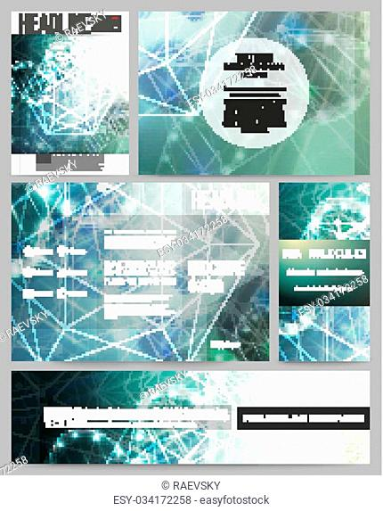 Set of business templates for presentation, brochure, flyer or booklet. DNA molecule structure on dark geen background. Science vector background