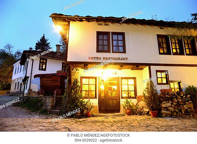 Traditional white houses and restaurant of Bozhentsi, Bulgaria