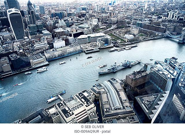 River Thames, HMS Belfast, The Gherkin, London, United Kingdom