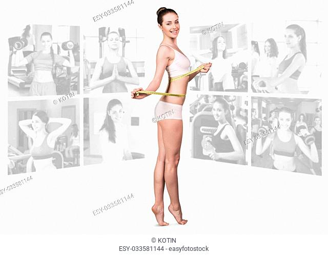 Woman foreground and collage of fitness girls in gym isolated on white background