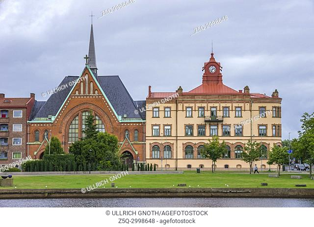 View of Immanuel Church (Immanuelskyrkan) by the Nissan river in Halmstad, Halland County, Sweden