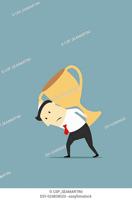 Businessman carrying big golden trophy cup