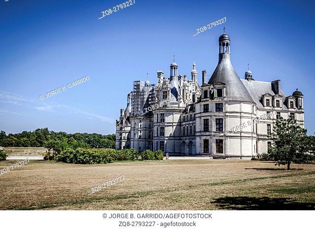 The royal Chateau de Chambord at Chambord, Loir-et-Cher, France