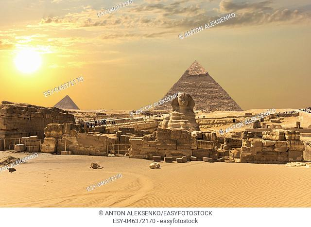 The Giza Pyramid Complex, view on the Great Sphinx, Egypt