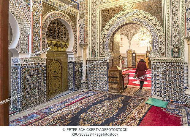 Kairaouine Mosque interior view, Fes, Kingdom of Morocco, Africa