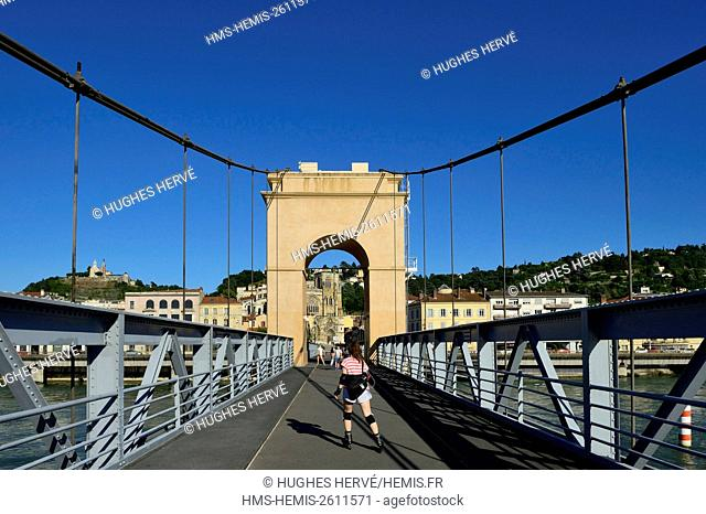 France, Isere, Vienne, suspension bridge over the Rhone river
