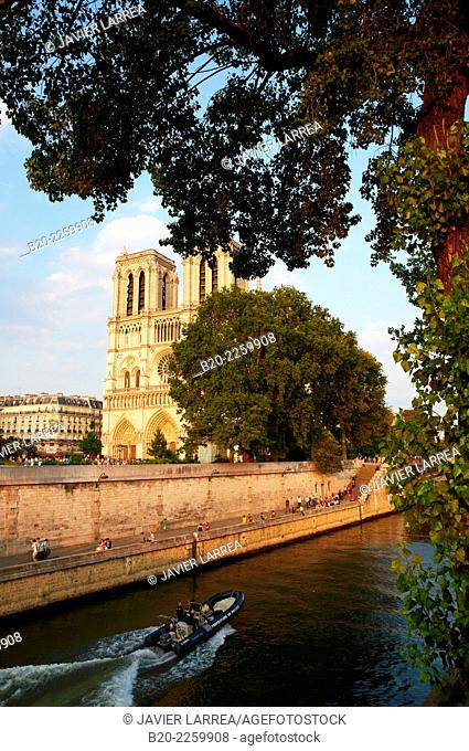 Western façade of Notre Dame Cathedral, viewed from Seine river. Île de la Cité. Paris. France. The cathedral is widely considered to be one of the finest...
