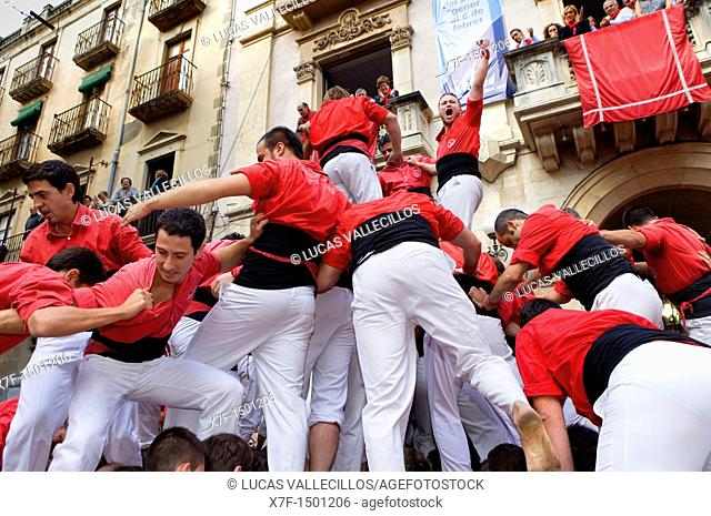 Celebrating a great success Colla Joves Xiquets de Valls 'Castellers' is a Catalan tradition Fira de Santa Úrsula Valls  Tarragona province, Spain