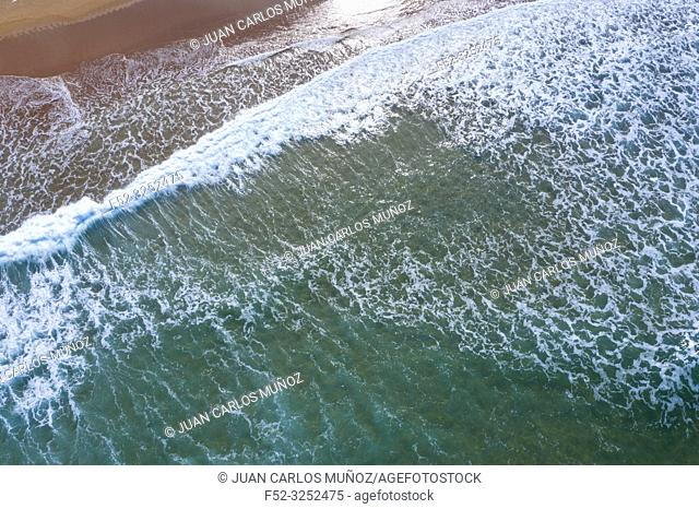 Waves, Sand, Ocean, Langre beach, Ribamontan al Mar, Cantabrian Sea, Cantabria, Spain, Europe