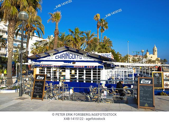 Chiringuito cafe restaurant at Platja de la Ribera beach Sitges Catalunya Spain Europe