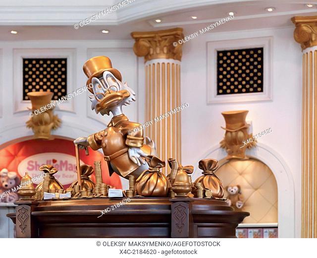 Scrooge McDuck sculpture at Disneysea gift store in Tokyo, Japan