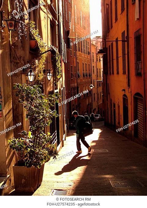 Genoa, Liguria, Italy, Genova, Europe, Narrow street in the city of Genoa