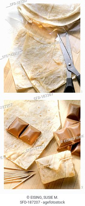 Making love letters from tortillas with chocolate filling