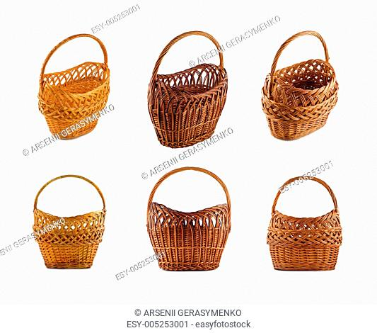 Collage of Wicker woven basket over white