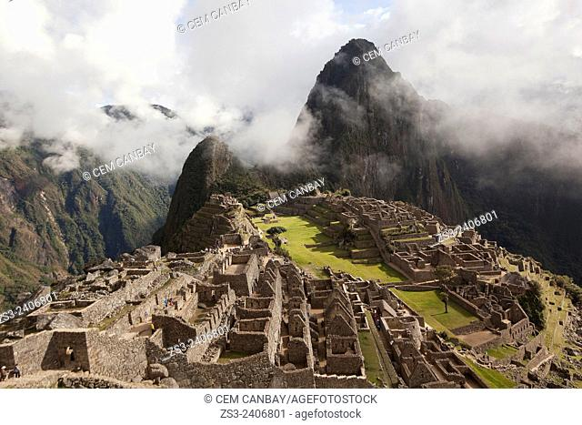 View to Machu Pichu Ruins from above, Urubamba Valley, Cusco, Peru, South America
