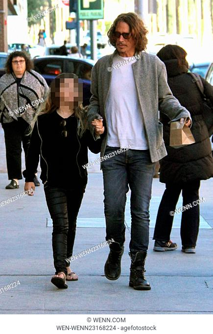 American rock musician Chris Cornell out and about in Beverly Hills with his daughter Featuring: Chris Cornell, Toni Cornell Where: Los Angeles, California