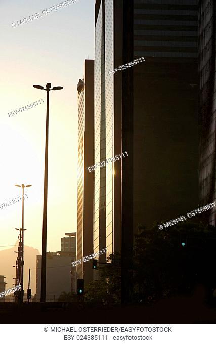 Sunset in downtown Rio de Janeiro, Brazil, South america