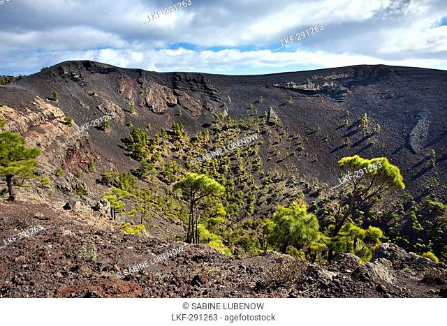 Crater under clouded sky, Volcano San Antonio, Fuencaliente, La Palma, Canary Islands, Spain, Europe