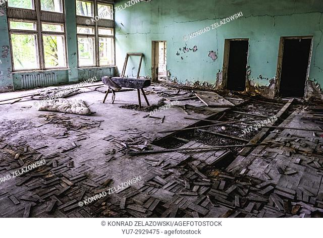 Gym in High school No 2 in Pripyat ghost city of Chernobyl Nuclear Power Plant Zone of Alienation around nuclear reactor disaster in Ukraine