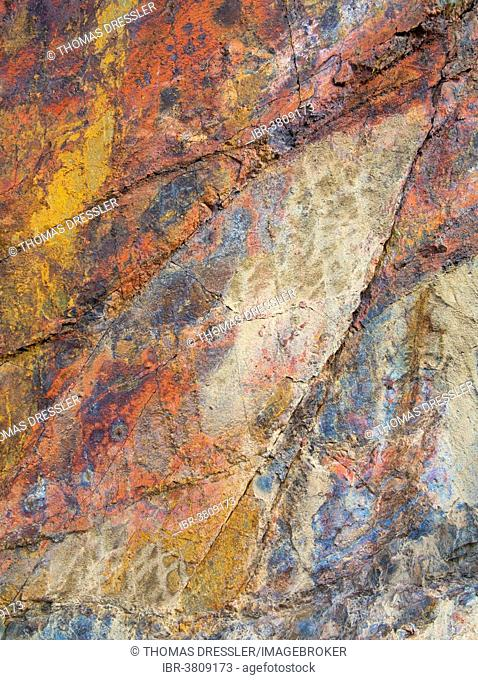 Multi-coloured sedimentary rock in the Panamint Range, Death Valley National Park, California, USA
