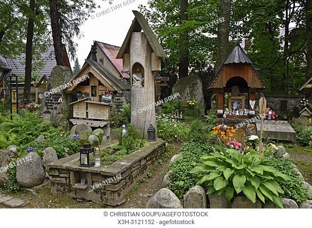 wooden funerary stela in the old cemetery of Zakopane, Podhale region, Tatra Mountains, Malopolska Province (Lesser Poland), Poland, Central Europe