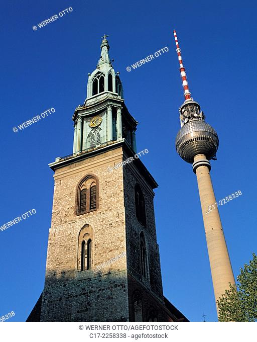 Germany, Berlin, Spree, Capital of Germany, Berlin-Mitte, church tower, evangelic St. Marys Church, parish church, Gothic, Berlin TV Tower, observation tower