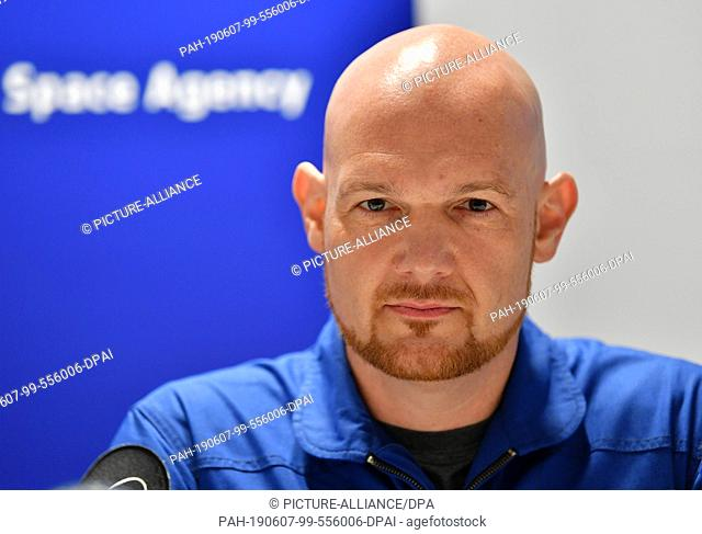 07 June 2019, Thuringia, Erfurt: Alexander Gerst, ESA astronaut, sits on the podium at the press conference in the Arena Erfurt on the DLR space show of the...