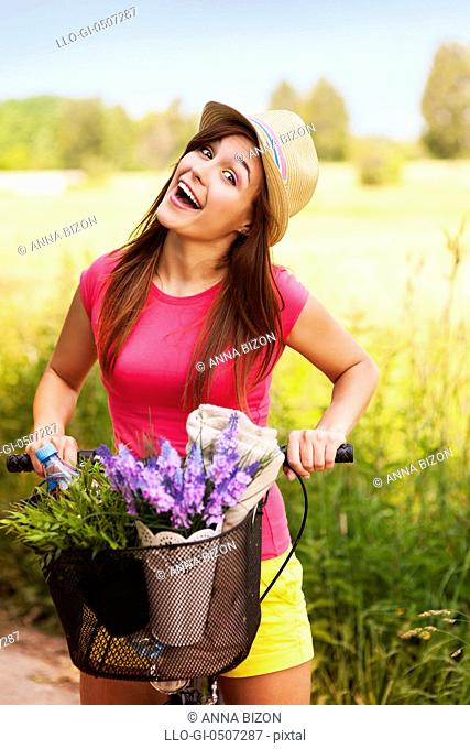 Very happy woman spending time on nature, Debica, Poland