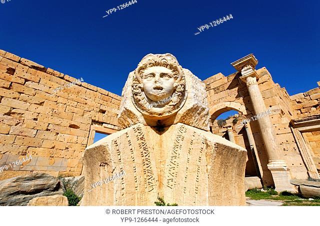 Sculpted Medusa head at the Forum of Severus, Leptis Magna, Libya