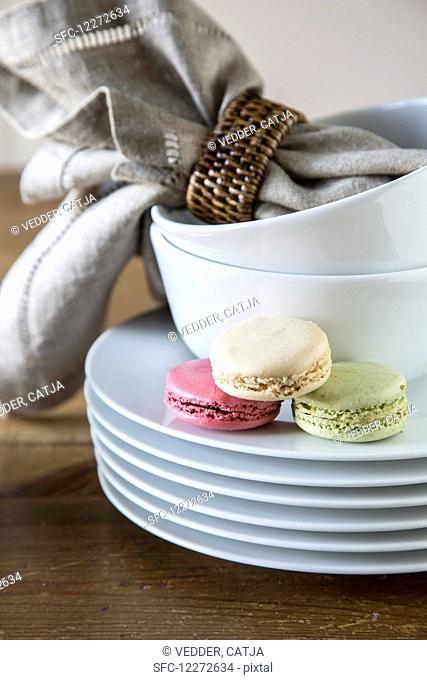 Macarons on a stack of plates