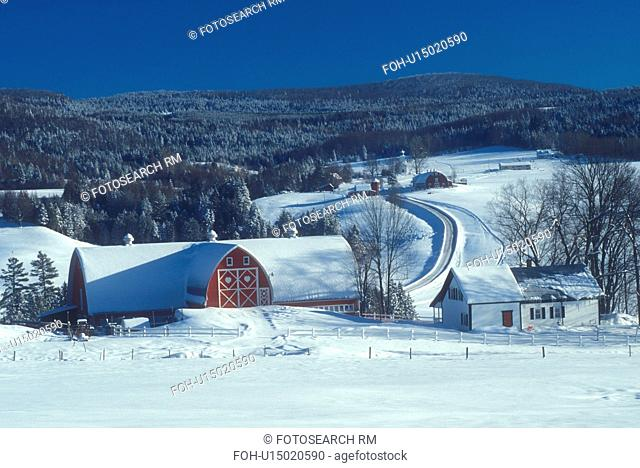 Vermont, red barn, VT, Scenic view of Diamond Heart Farm on a clear day in East Albany in the winter