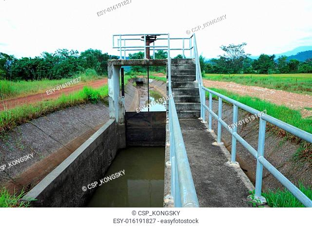 Floodgate and irrigation canals