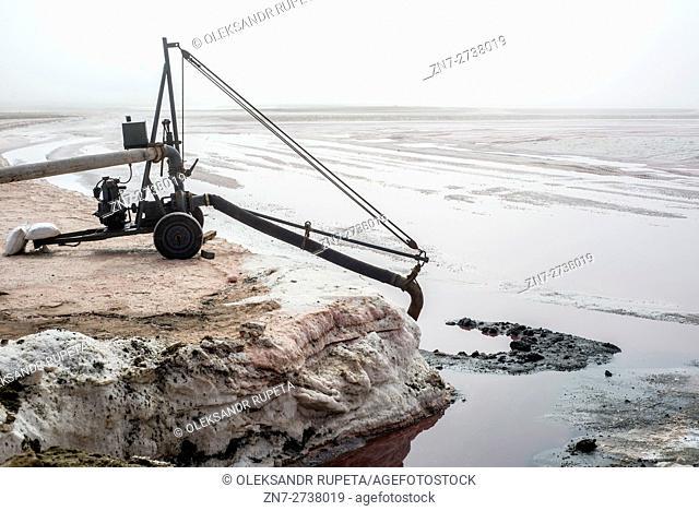 Salt mining at a salt factory near Swakopmund, Namibia, Southern Africa
