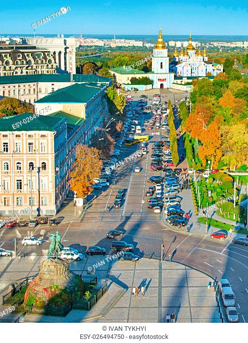 Aerial Kiev Old Town with Bohdan Khmelnytsky monument and St. Michael's Golden-Domed Monastery