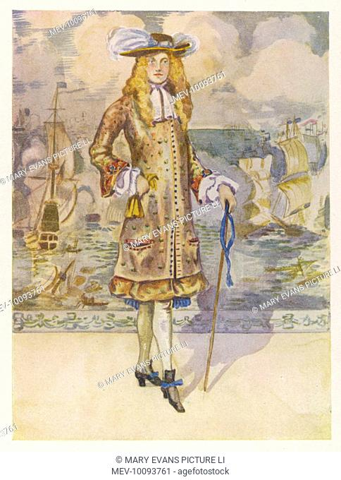 In 1666, a new style for men is introduced in sharp contrast to the extravagant court styles : the long vest or body-coat is an intimation of things to come